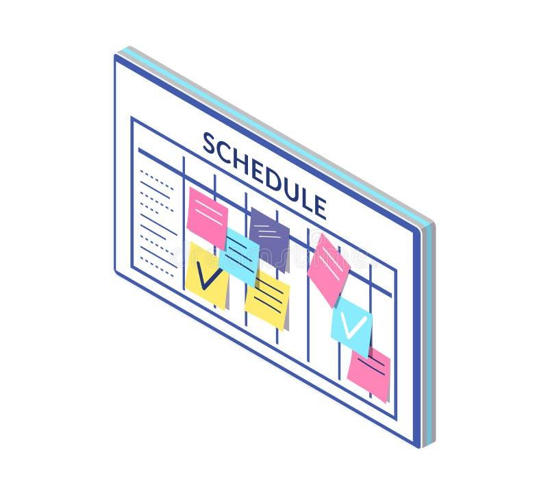 Rozkład, rozkład zajęć firma pracowników deski notatki royalty ilustracja