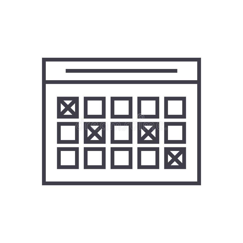 Rozkład zajęć liniowa ikona, znak, symbol, wektor na odosobnionym tle ilustracja wektor