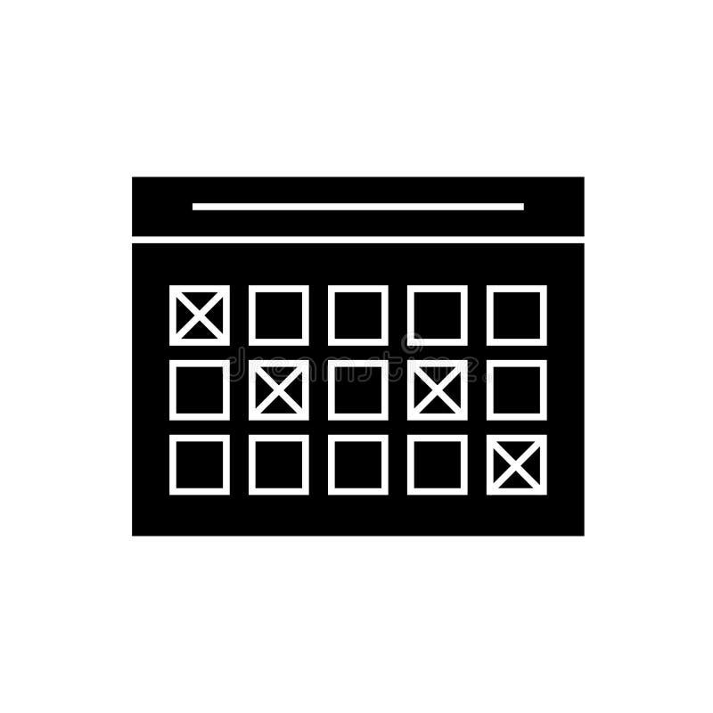 Rozkład zajęć pojęcia czarna wektorowa ikona Rozkład zajęć płaska ilustracja, znak ilustracji