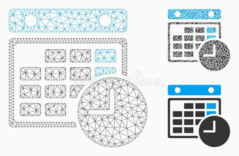 Rozkład Zajęć siatki Drucianej ramy trójboka i modela mozaiki Wektorowa ikona ilustracja wektor