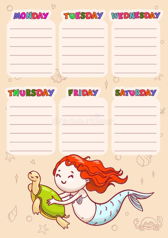 Rozkład zajęć z dniami tygodnie dla szkoły Wektorowy rozkład dla dzieci z kreskówka żółwiem i syrenką royalty ilustracja