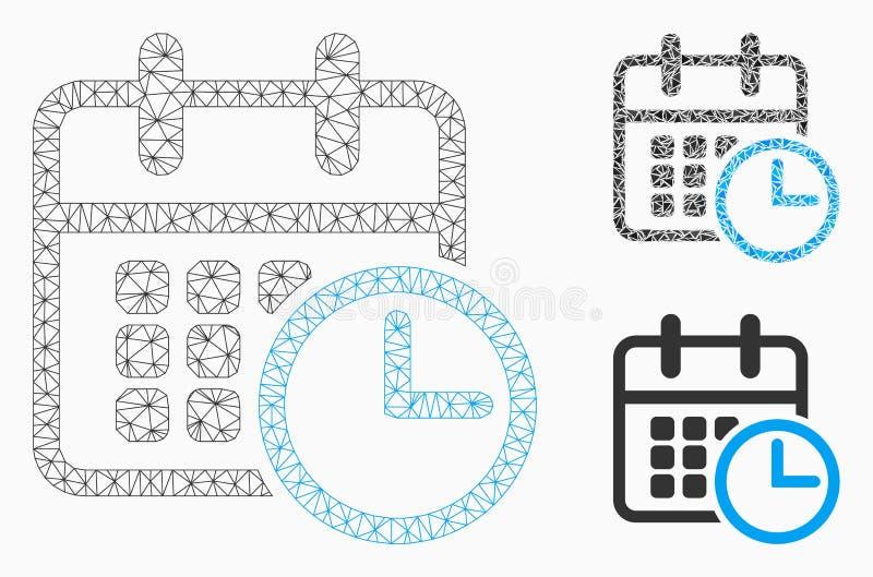 Rozkład zajęć Zegarowej Wektorowej siatki trójboka i modela mozaiki 2D ikona royalty ilustracja