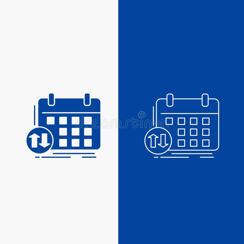 rozkładu, klas, rozkład zajęć, spotkania, wydarzenie linii i glifu sieć, Zapina w Błękitnego koloru Pionowo sztandarze dla UI i U ilustracji