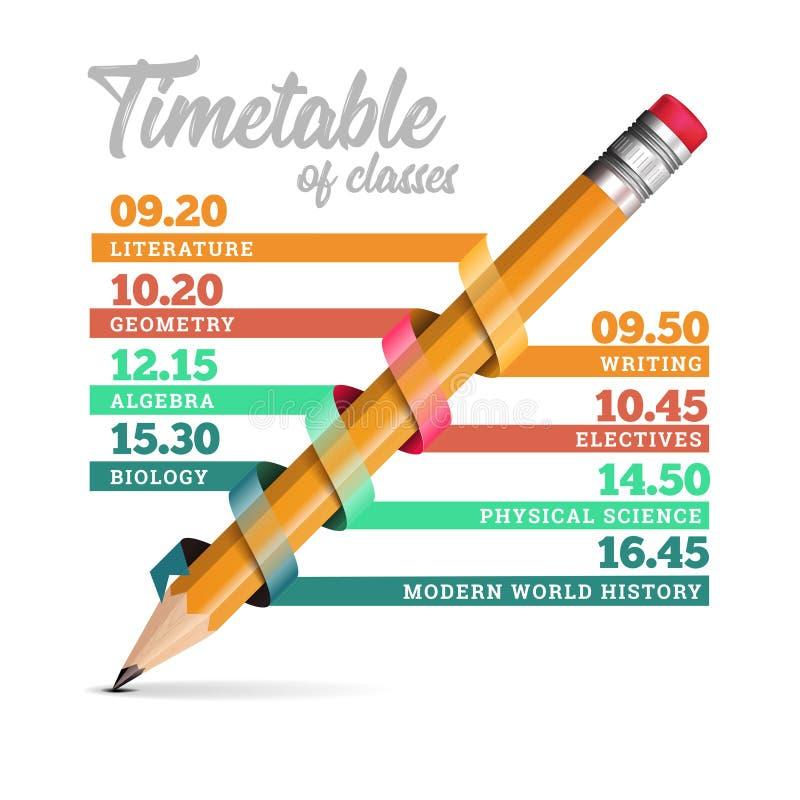 Rozkładu zajęć lub linia czasu projekta szablonu wektorowa ilustracja z ołówkiem ilustracji