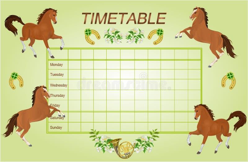 Rozkładu zajęć tygodniowy rozkład z brown koniami wektorowymi ilustracja wektor