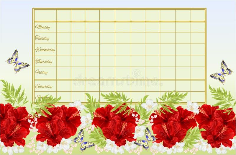 Rozkładu zajęć tygodniowy rozkład z czerwonym poślubnikiem kwitnie z jaśminowego i motyliego rocznika wektorowy Ilustracyjny edit royalty ilustracja