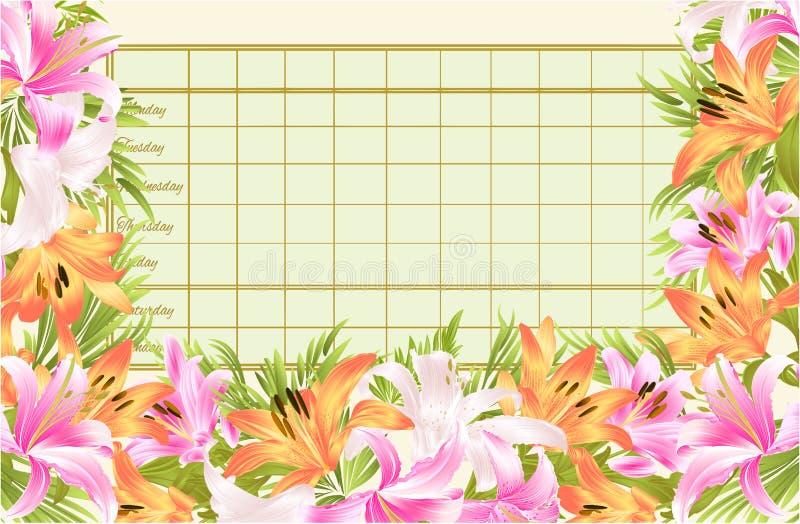 Rozkładu zajęć tygodniowy rozkład z kwitnącego leluja rocznika wektorowy Ilustracyjny editable ilustracji