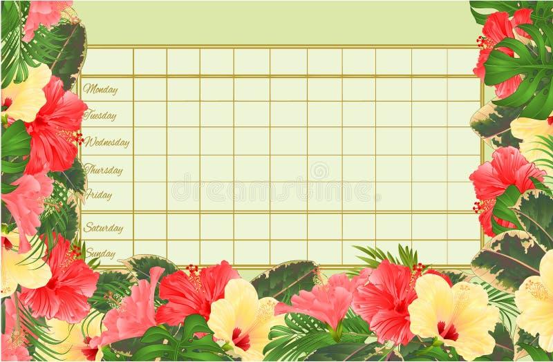 Rozkładu zajęć tygodniowy rozkład z poślubnika różnorodnego, palmowego, filodendronu i ficus rocznika wektorowy Ilustracyjny edit royalty ilustracja