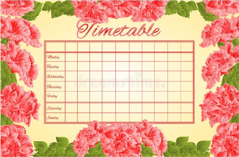 Rozkładu zajęć tygodniowy rozkład z różowym poślubnika wektorem royalty ilustracja