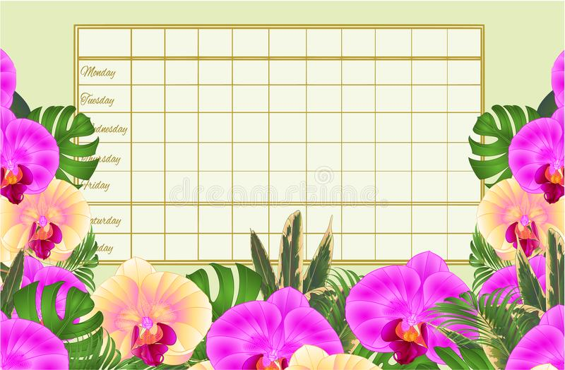 Rozkładu zajęć tygodniowy rozkład z tropikalnych kwiatów żółtymi i purpurowymi pięknymi orchideami, palma, filodendronu rocznika  ilustracji