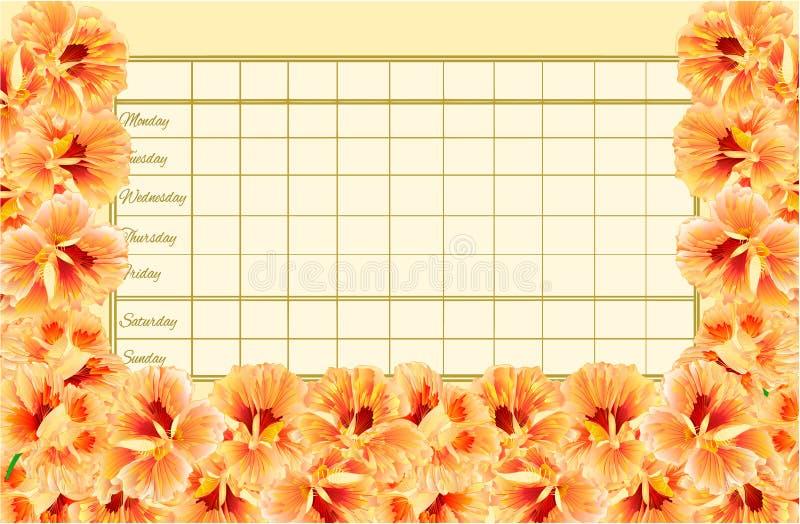 Rozkładu zajęć tygodniowy rozkład z wiosną kwitnie watercress jarzynowego rocznika wektorowy Ilustracyjny editable ilustracji