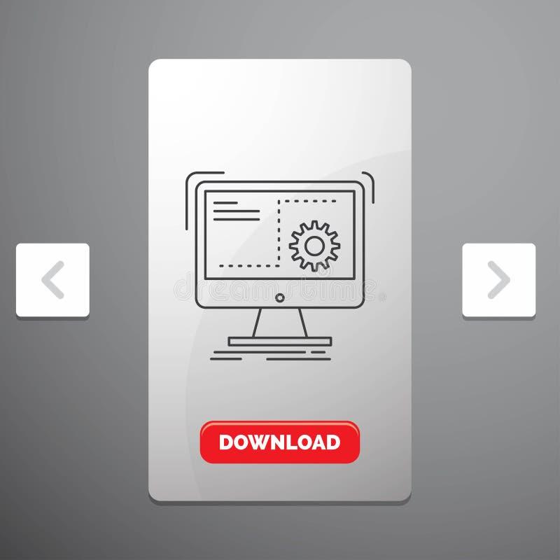 Rozkaz, komputer, funkcja, proces, postęp Kreskowa ikona w biby paginacji suwaka projekcie & Czerwony ściąganie guzik, ilustracja wektor