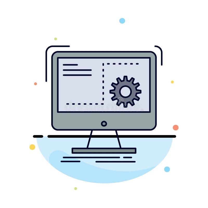 Rozkaz, komputer, funkcja, proces, postępu koloru ikony Płaski wektor royalty ilustracja