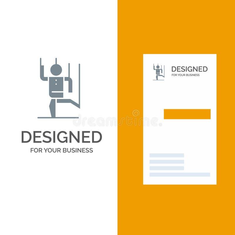 Rozkaz, kontrola, istota ludzka, Manipuluje, manipulacja logo Popielaty projekt i wizytówka szablon ilustracja wektor