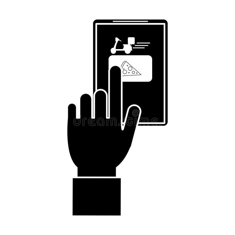 Rozkaz strony internetowej dostawy karmowy online piktogram ilustracja wektor