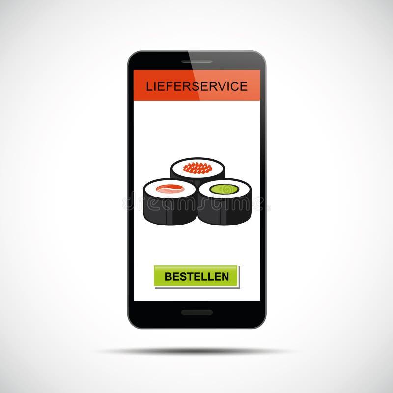 Rozkazu suszi ustawiający przez smartphone ilustracja wektor