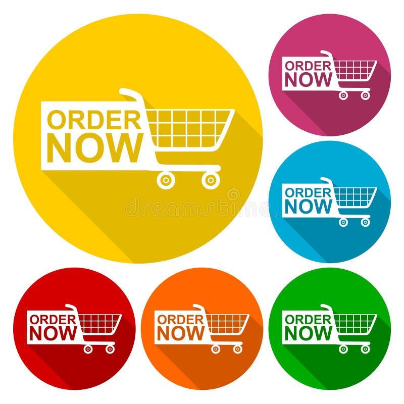 Rozkazu Teraz wózek na zakupy ikony ustawiać z długim cieniem ilustracja wektor
