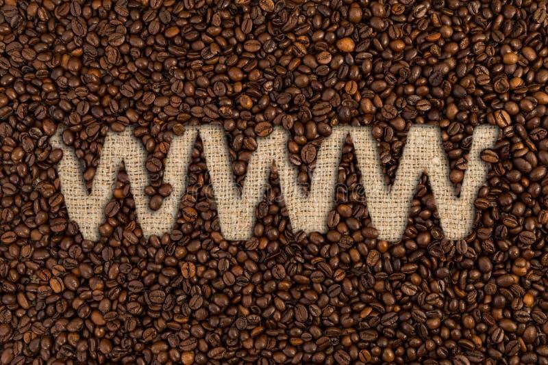 Rozkazuje online kawowych fasoli pojęcie z Www tekstem zdjęcie stock