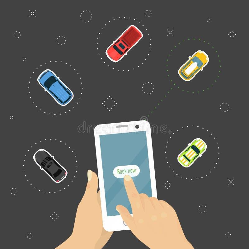 Rozkazuje samochodowy online pojęcie, ręki mienia smartphone z pojazdem rezerwuje app wektoru ilustrację Wybierać najlepszy samoc royalty ilustracja
