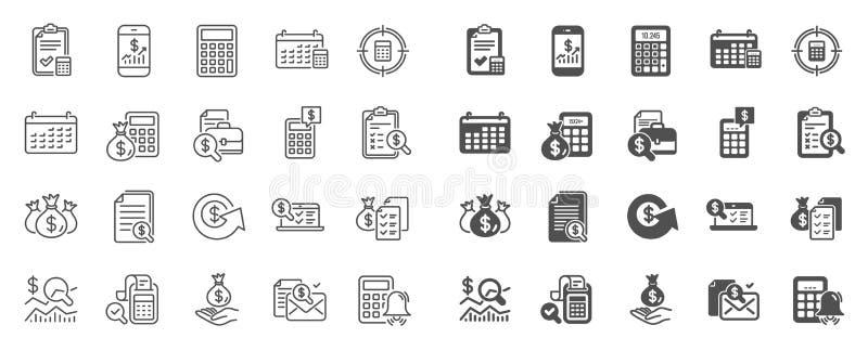 Rozlicza? kreskowe ikony Set inwestycja i raport obliczenia, czeka, wektor royalty ilustracja