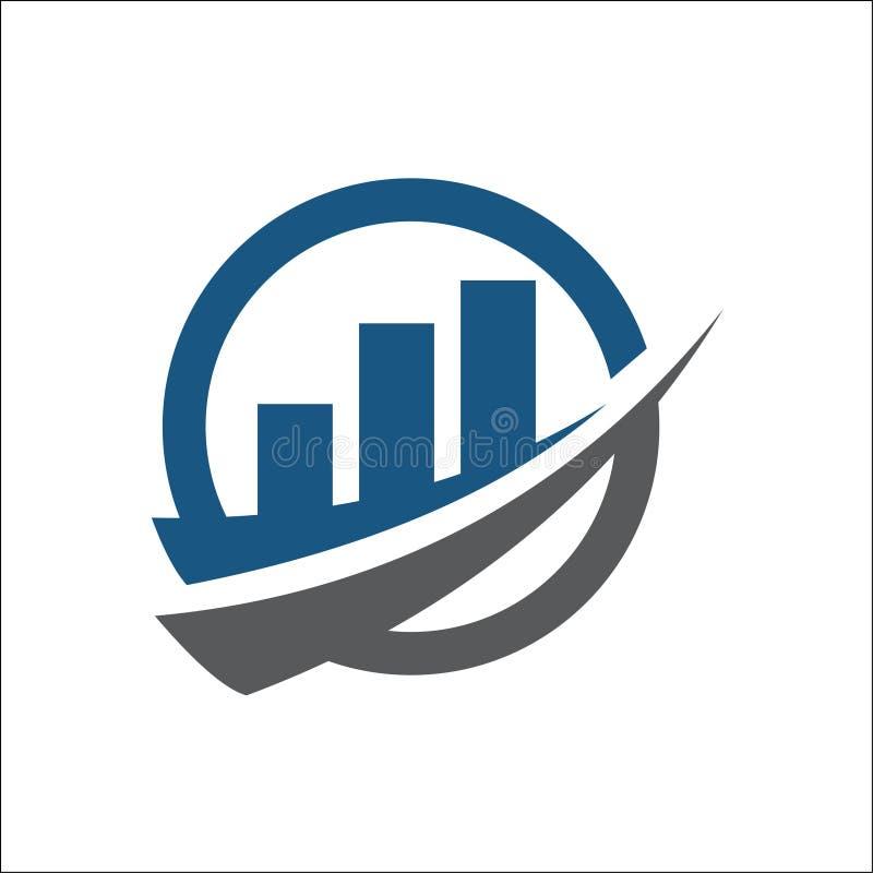 Rozliczający pieniężnego logo wektorowa grafika abstrakcjonistyczny szablon z swoosh ilustracja wektor