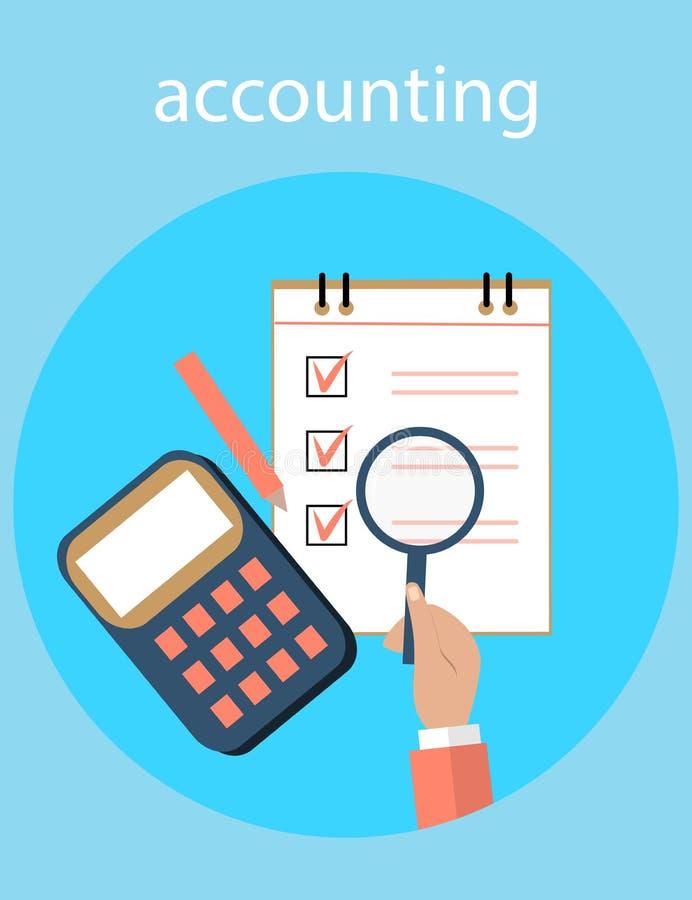 Rozliczający, podatki, rewizja, obliczenie, dane analiza, donosi pojęcia Ilustracyjny płaski projekt ilustracja wektor
