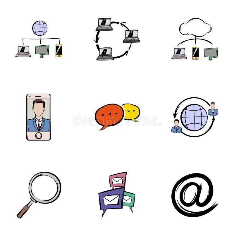Rozmów ikony ustawiać, kreskówka styl ilustracji