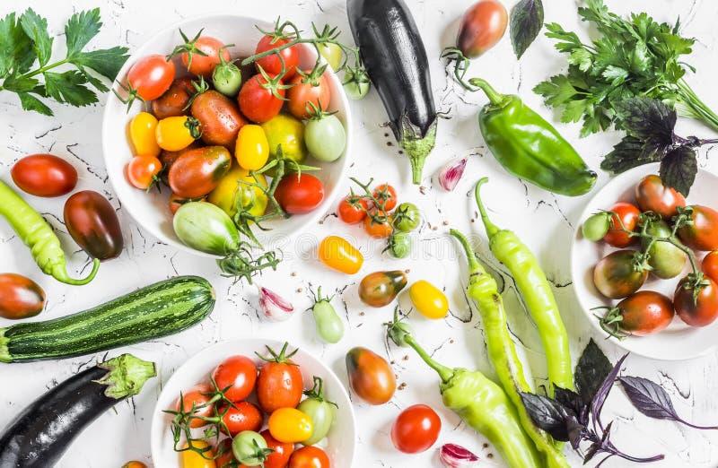 Rozmaitość świezi warzywa - pomidory, pieprze, oberżyna, zucchini na białym tle zdjęcia royalty free
