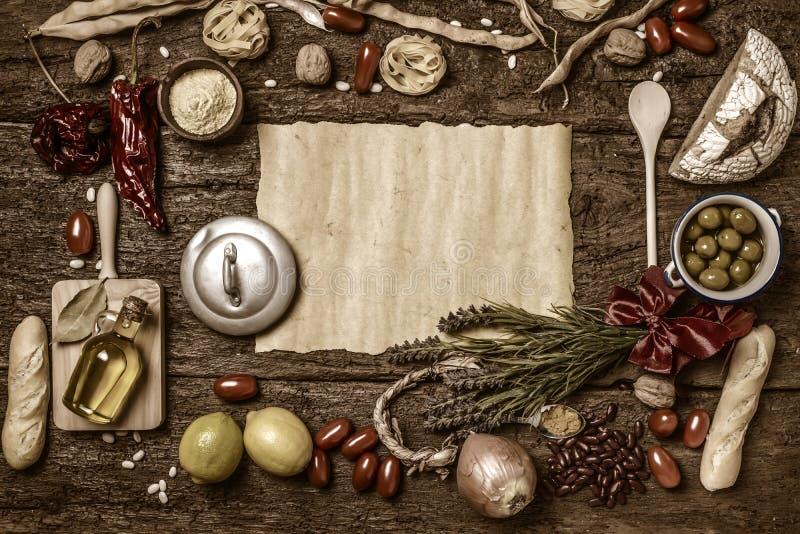 Rozmaitość karmowych składników tło obrazy stock