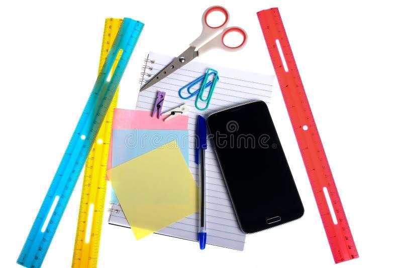 Rozmaitość materiały rzeczy i smartphone zdjęcia stock