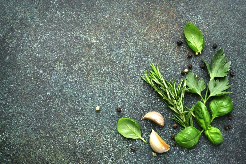 Rozmaitość pikantność: ziele, czosnek, czarny pieprz Odgórny widok z co zdjęcia royalty free