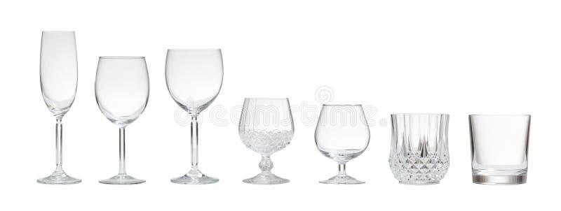Rozmaitość puści szkła na białym tle zdjęcie stock