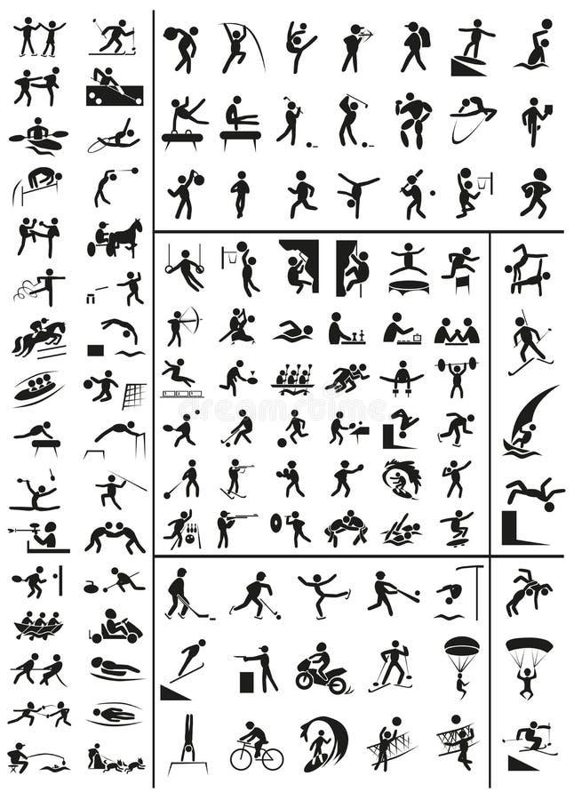 Rozmaitość sport ikony na bielu royalty ilustracja