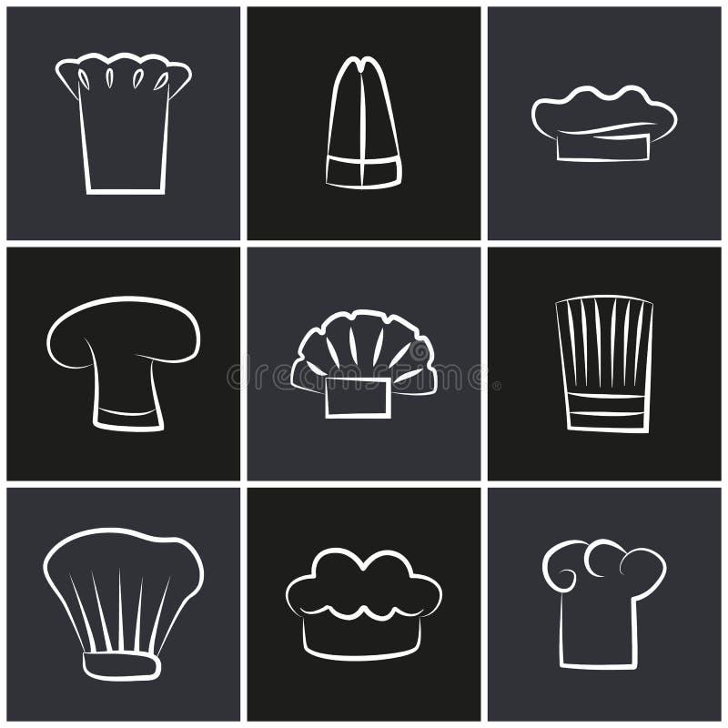 Rozmaitość szefa kuchni kapelusze, set bielu Cook Headwear logo ilustracja wektor