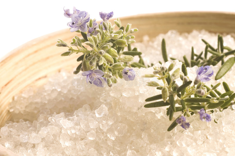 rozmarynów soli w wannie glinu zdjęcie stock