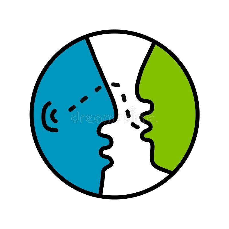 Rozmawia logo logotyp dla psychologii psychotherapy ordynacyjnej mowy opowiada spotkanie rozmowę między dwa ilustracji