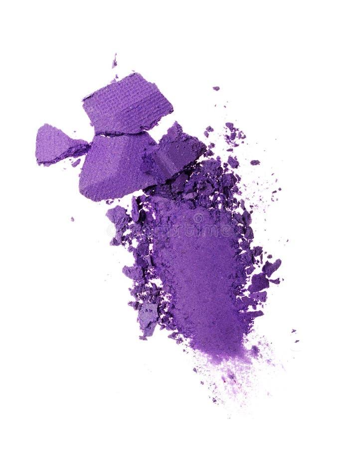 Rozmaz zdruzgotany purpurowy oko cień jak próbkę kosmetyczny produkt fotografia stock