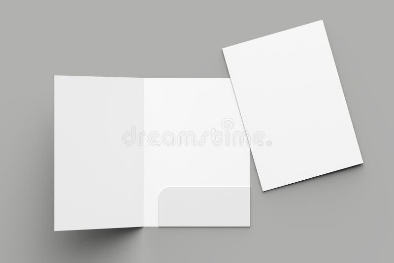 A4 rozmiaru falcówki pojedyncza kieszeń wzmacniający egzamin próbny up odizolowywający na szarość zdjęcia royalty free