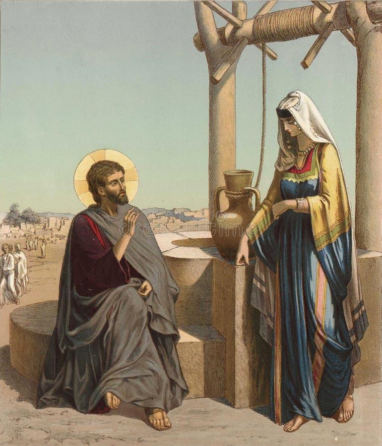 Rozmowa jezus chrystus z Samarytańską kobietą ilustracji
