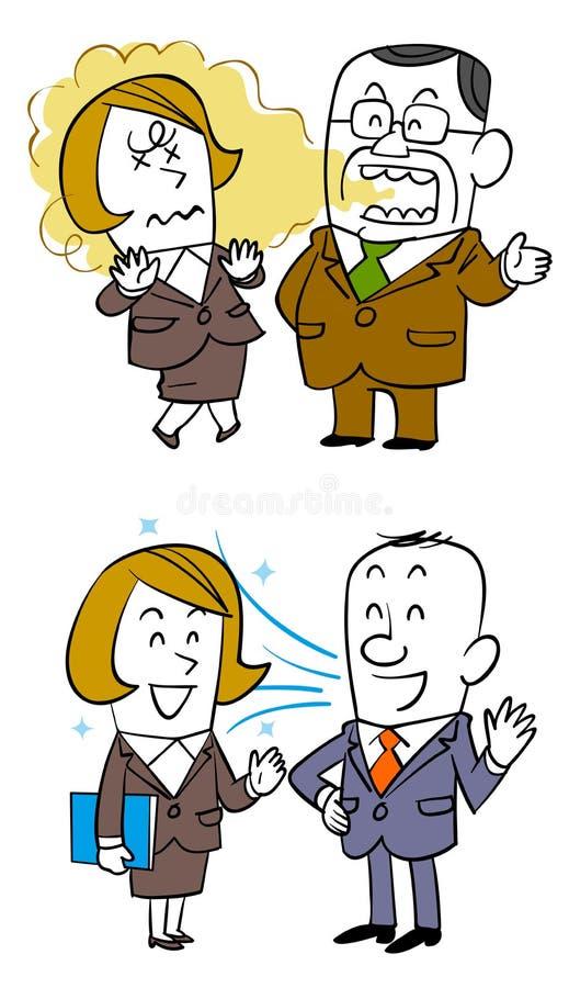 Rozmowa która złego oddech z żeńskimi pracownikami, Starymi męskimi pracownikami i męskimi pracownikami, który żadny złego oddech ilustracji