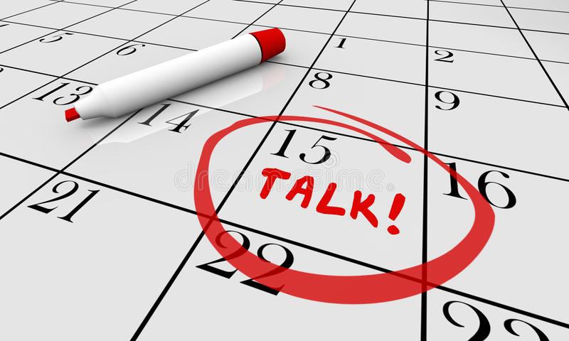 Rozmowa rozkładu dyskusi spotkania kalendarza słowo ilustracji