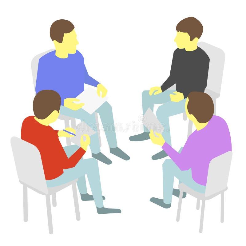 rozmowy Grupa biznes Cztery ludzie zespalają się spotkanie konferencję ilustracji