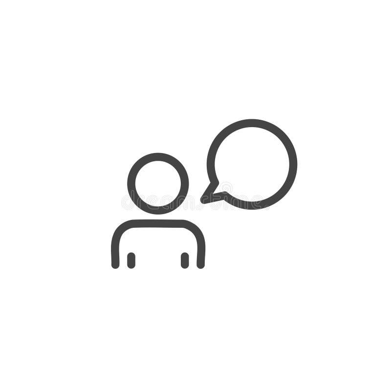Rozmowy ikona Istoty ludzkiej i mowy bąbel Komunikacyjnego pojęcia modny nowożytny kontur na białym tle ilustracji