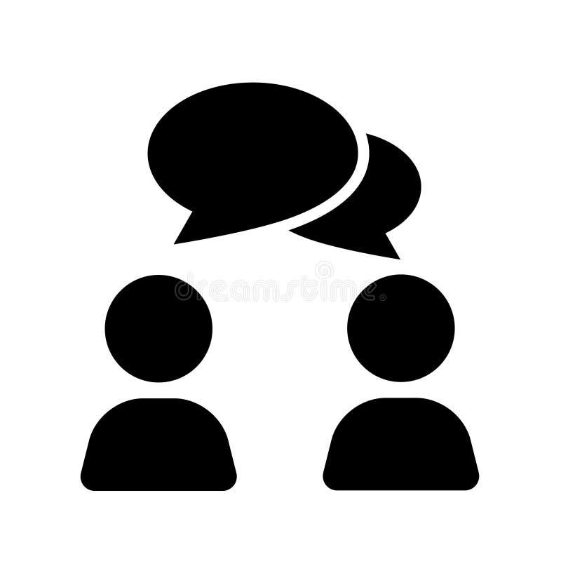 Rozmowy ikony w mieszkanie stylu ludzie M??czyzna z mowa b?bla ilustracj? na bia?ym tle Rozmowy gadki biznesu poj?cie ilustracja wektor