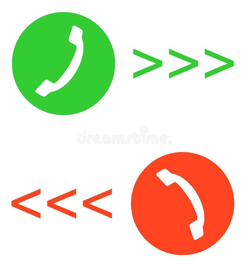Rozmowy telefonicza wektorowa płaska ikona ustawiająca z zieleni wezwaniem out lub odpowiedzi guzik i czerwony wiesza up guzika l royalty ilustracja