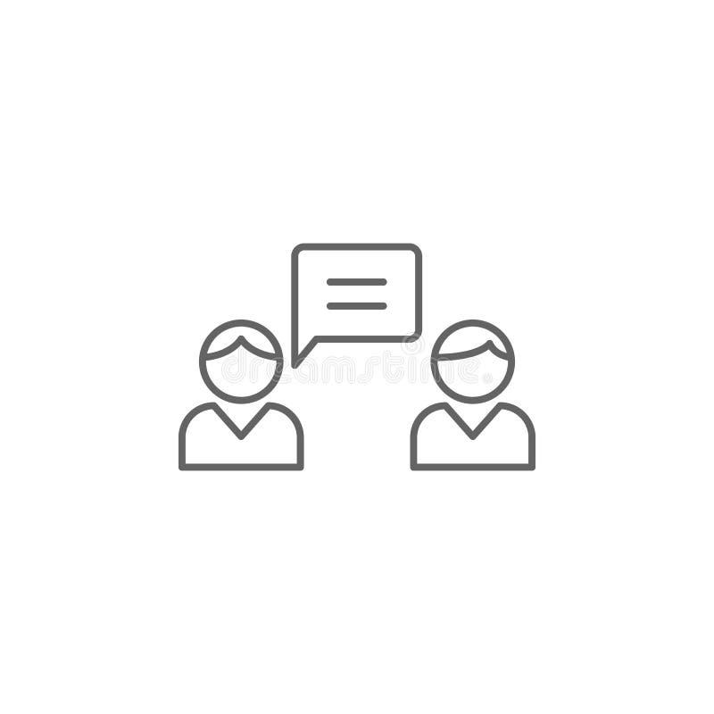 rozmowy towarzyskiej przyjaźni konturu ikona Elementy przyjaźni linii ikona Znaki, symbole i wektory, mogą używać dla sieci, logo royalty ilustracja