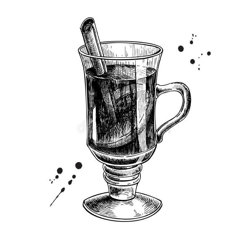 Rozmyślająca wino ręka rysująca ilustracja Grawerujący stylowy Chris royalty ilustracja