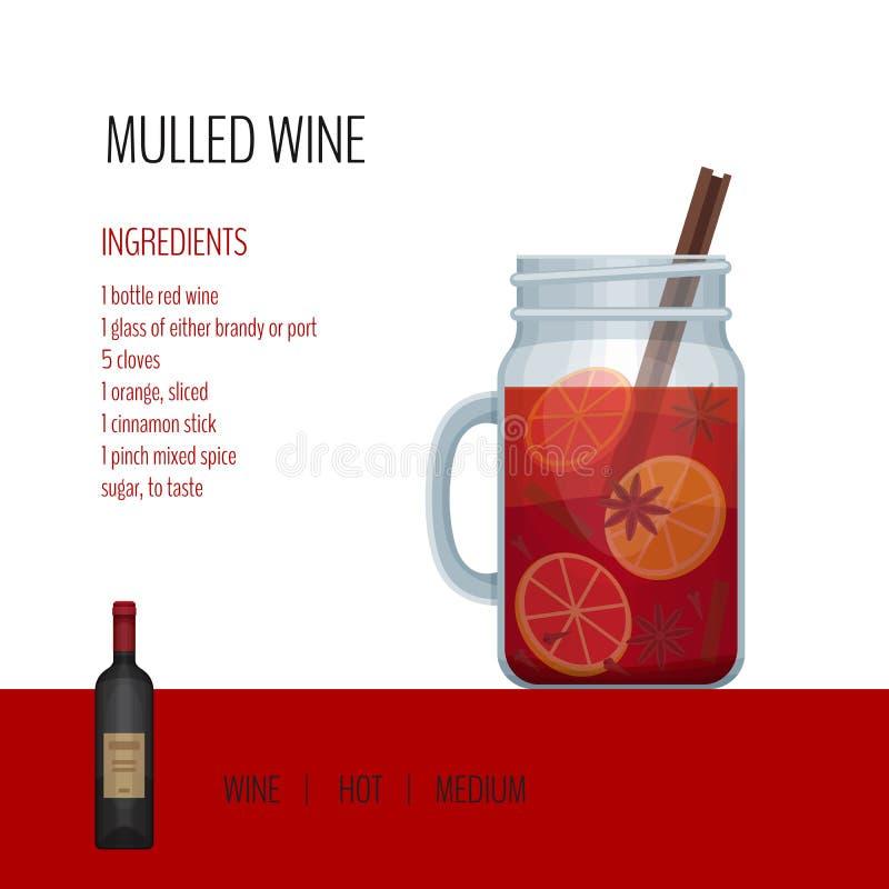 Rozmyślający wino w kamieniarza słoju z przepisami i składnikami Prętowy menu ilustracji
