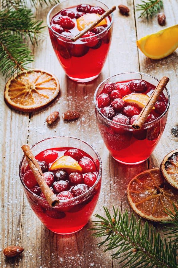 Rozmyślający wino z cranberries zdjęcia royalty free