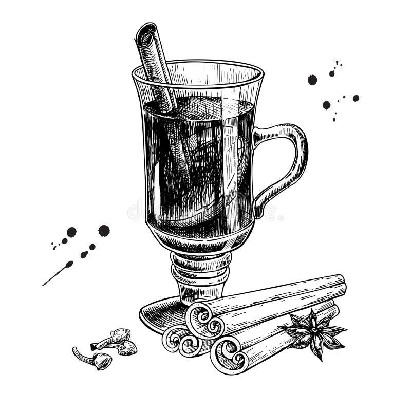 Rozmyślający wino z cynamonowym kijem, gwiazdowym anyżem i goździkowym nakreśleniem, Brzęczenia ilustracja wektor